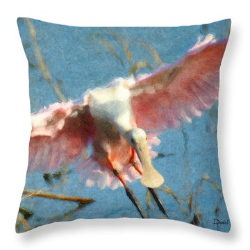 Da203 Roseate Spoonbill By Daniel Adams Throw Pillow