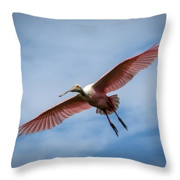 Roseate Spoonbill In Flight Throw Pillow by Gregory Daley  PPSA