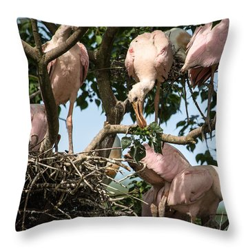 Roseate Spoonbill Nest Throw Pillow