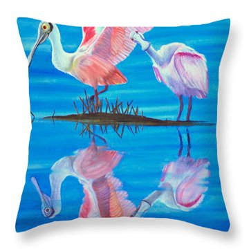 Roseate Spoonbill Pair Throw Pillow