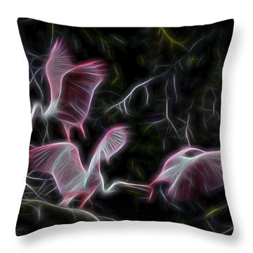 Throw Pillow featuring the digital art Roseate Spoonbills 1 by William Horden