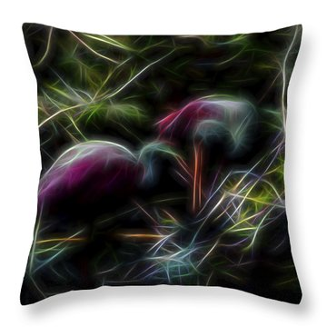 Throw Pillow featuring the digital art Roseate Spoonbills 2 by William Horden