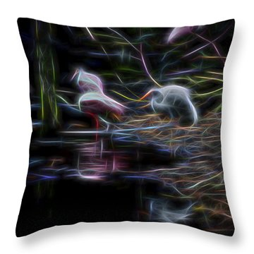 Throw Pillow featuring the digital art Roseate Spoonbills 3 by William Horden