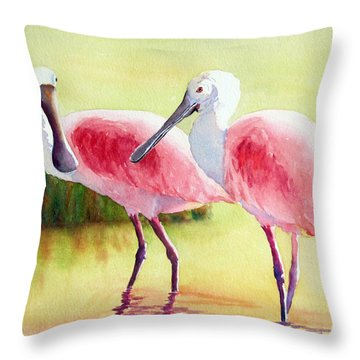 Throw Pillow featuring the painting Roseate Spoonbills by Judy Mercer