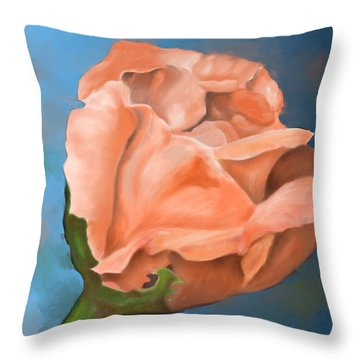 Throw Pillow featuring the painting Rosebud Peaches And Cream by Judy Filarecki