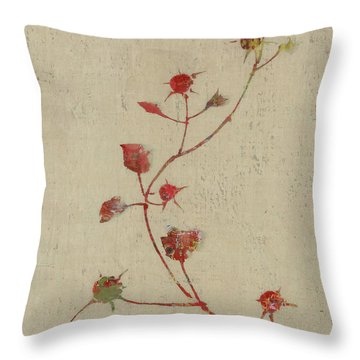 Red Rose Drawings Throw Pillows