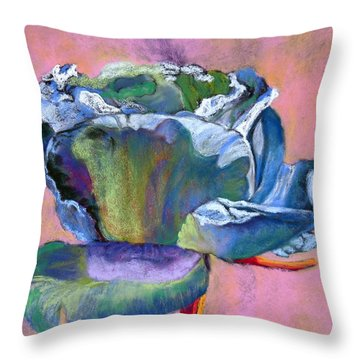 Rosefloria In Blue Throw Pillow by Julie Maas