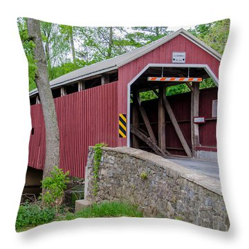 Rosehill Covered Bridge Throw Pillow by Guy Whiteley