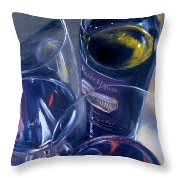 Rosenblum And Glasses Throw Pillow by Donna Tuten