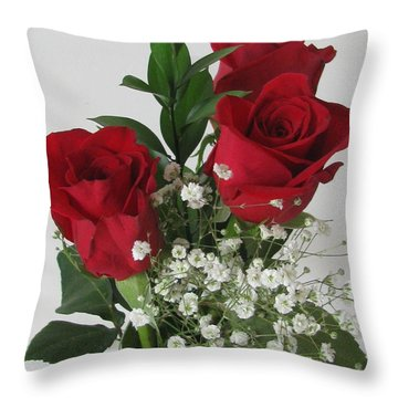 Throw Pillow featuring the photograph Roses And Babys Breath by Margaret Newcomb