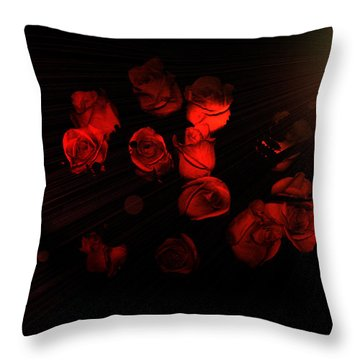 Roses And Black Throw Pillow