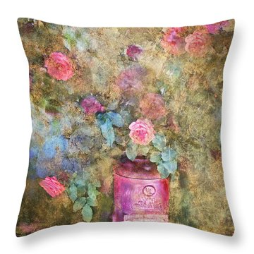 Roses And Fire Hydrant Throw Pillow