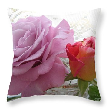 Roses And Lace Throw Pillow by Marlene Rose Besso