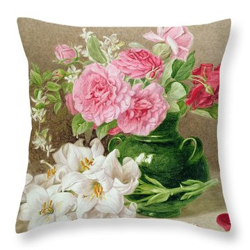 Roses And Lilies Throw Pillow by Mary Elizabeth Duffield