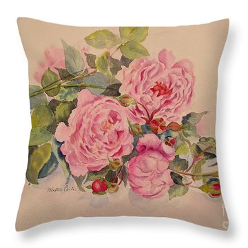 Throw Pillow featuring the painting Roses And More Roses by Beatrice Cloake