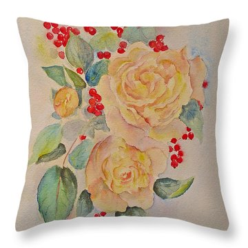 Throw Pillow featuring the painting Roses And Redcurrants by Beatrice Cloake