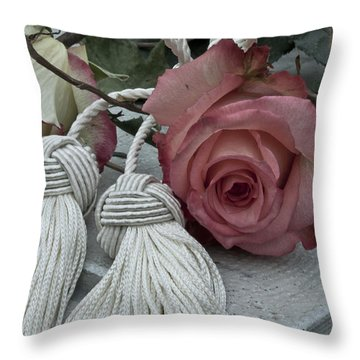 Throw Pillow featuring the photograph Roses And Tassels by Sandra Foster
