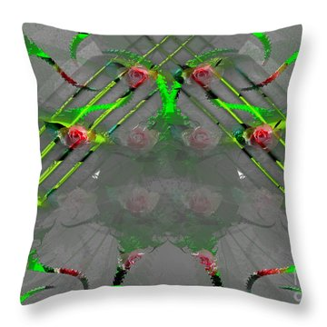 Throw Pillow featuring the digital art Roses Around The World by Melissa Messick