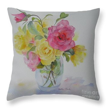 Throw Pillow featuring the painting Roses by Beatrice Cloake