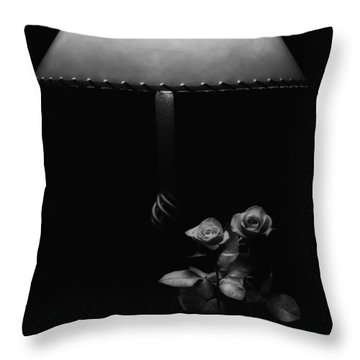Throw Pillow featuring the photograph Roses By Lamplight Bw by Ron White