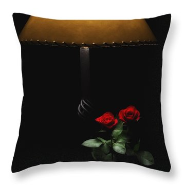 Roses By Lamplight Throw Pillow