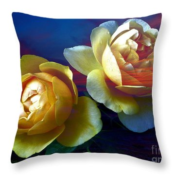 Roses By The Sea Throw Pillow
