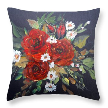 Throw Pillow featuring the painting Roses by Dorothy Maier