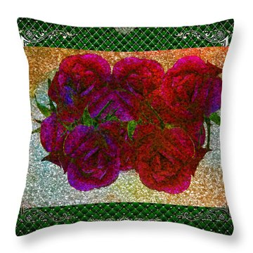 Roses- Featured In Beautiful Roses And Comfortable Art Groups Throw Pillow by EricaMaxine  Price