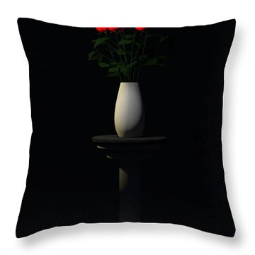 Throw Pillow featuring the digital art Roses For Sk... by Tim Fillingim