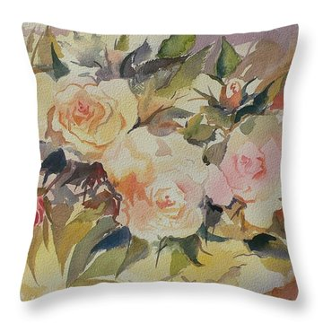 Roses Throw Pillow by Geeta Biswas