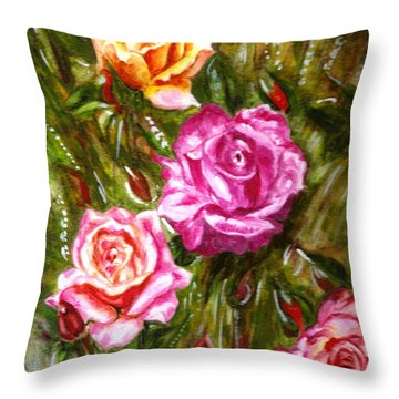 Throw Pillow featuring the painting Roses by Harsh Malik
