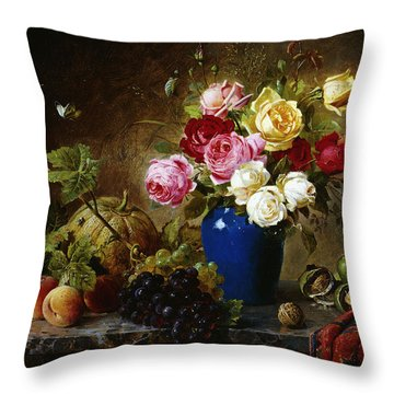 Roses In A Vase Peaches Nuts And A Melon On A Marbled Ledge Throw Pillow by Olaf August Hermansen