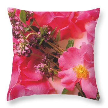 Roses In Thyme Throw Pillow by Margaret Newcomb