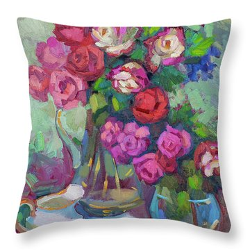 Roses In Two Vases Throw Pillow by Diane McClary
