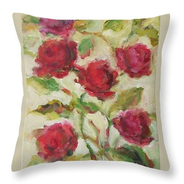 Throw Pillow featuring the painting Roses by Mary Wolf