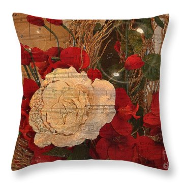 Roses Music Bubbles And Love Throw Pillow by Kathy Baccari