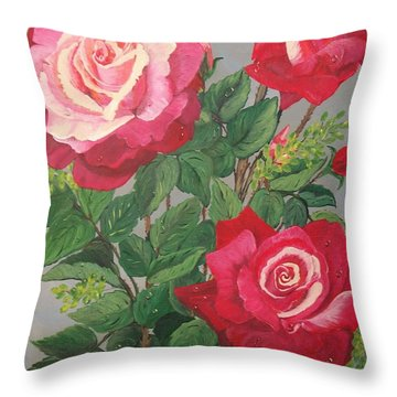 Throw Pillow featuring the painting Roses N' Rain by Sharon Duguay