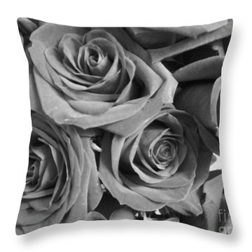 Throw Pillow featuring the photograph Roses On Your Wall Black And White  by Joseph Baril