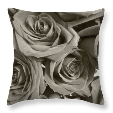 Throw Pillow featuring the photograph Roses On Your Wall Sepia by Joseph Baril