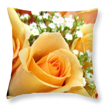 Roses Orange Blossoms Throw Pillow by Danielle  Parent