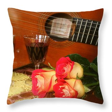 Guitar 'n Roses Throw Pillow