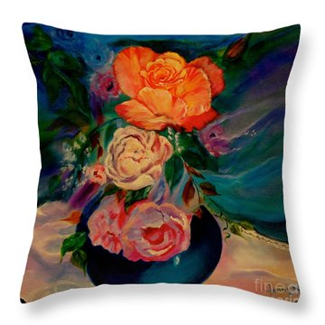 Throw Pillow featuring the painting Roses Roses Roses by Jenny Lee