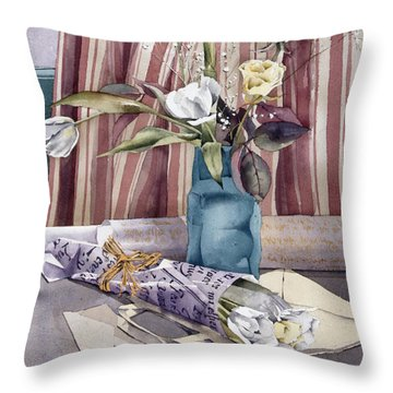 Roses Tulips And Striped Curtains Throw Pillow by Julia Rowntree