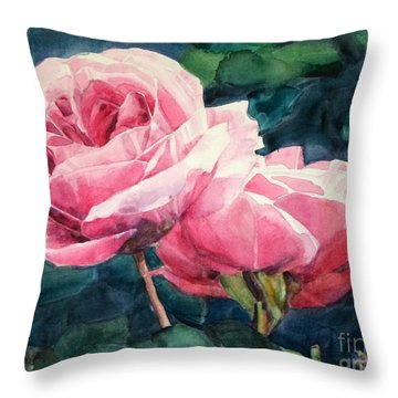 Watercolor Of Two Luscious Pink Roses Throw Pillow