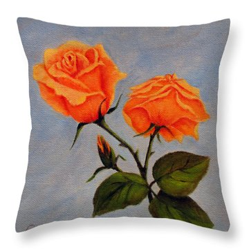 Roses With Bud Throw Pillow