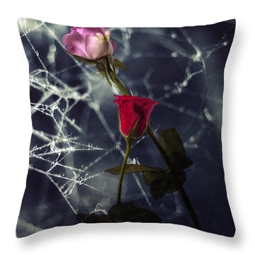 Roses With Coweb Throw Pillow by Joana Kruse