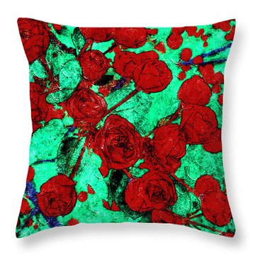 The Red Roses Throw Pillow