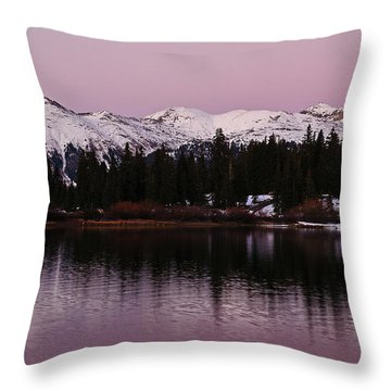 Rosey Lake Reflections Throw Pillow