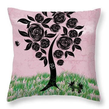 Rosey Posey Throw Pillow