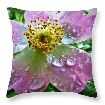 Rosey Raindrops Throw Pillow